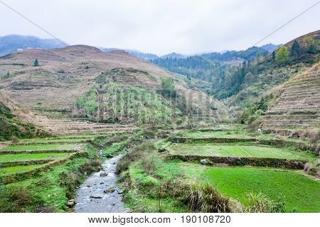 Water Stream Between Terraced Fields Of Dazhai