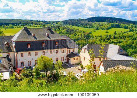 Schlosshotel Burghaus Kronenburg in Kronenburg Eifel Germany. June 2013.