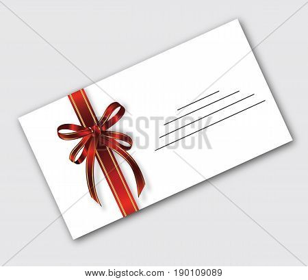 Postal RPZ white envelope colic with festive ribbon with two red stripes olotysmymy