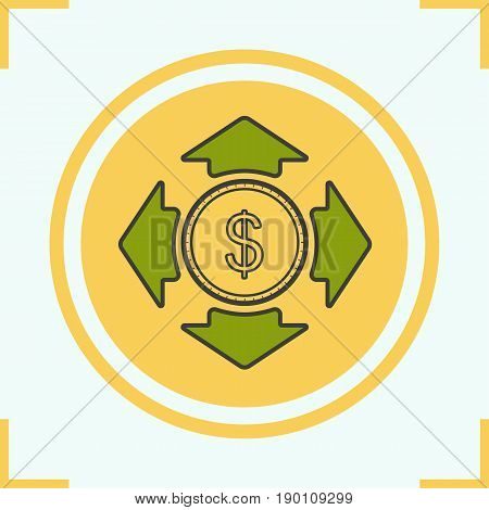 Money spending color icon. Dollar coin with all direction arrows. Isolated vector illustration