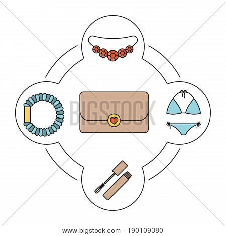 Women's purse contents color icons set. Clutch, mascara, hair scrunchy, necklace, swimsuit. Isolated vector illustrations