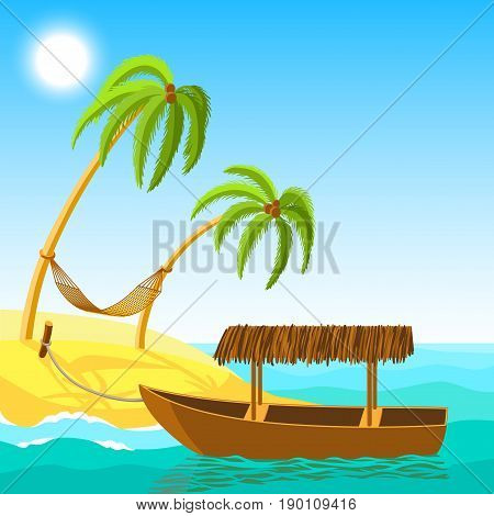 Wooden boat on a sandy beach with palm trees and a hammock