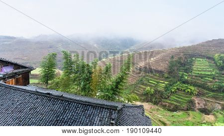 View From Tiantouzhai Village Terraced Hills