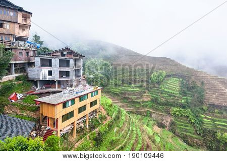 View From Tiantouzhai Village Terraced Rice Fields