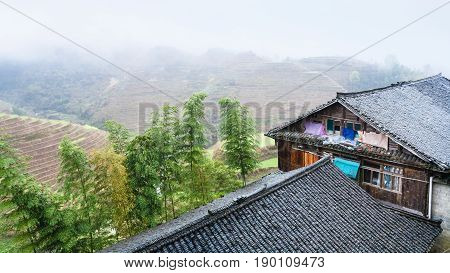 Houses In Tiantouzhai Village And Terraced Fields