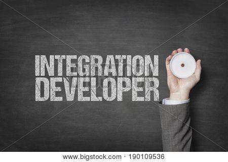 Integration developer text with businessman hand holding cogwheel