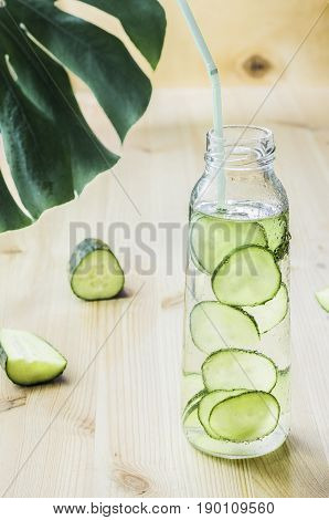 Sassy diet water. Detox drink. Fresh cold water with cucumber.