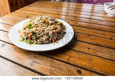 Served Fried Rice With Vegetables On Plate
