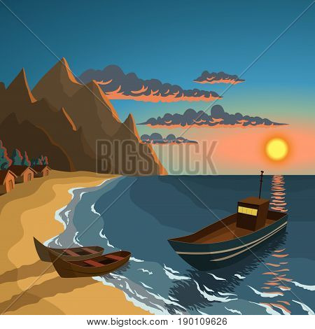 Fishing boats on the sunset beach with village