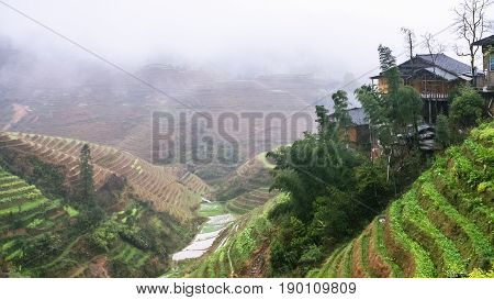View Of Terraced Fields Of Tiantouzhai Village