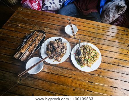 Above View Of Served Local Chinese Dinner