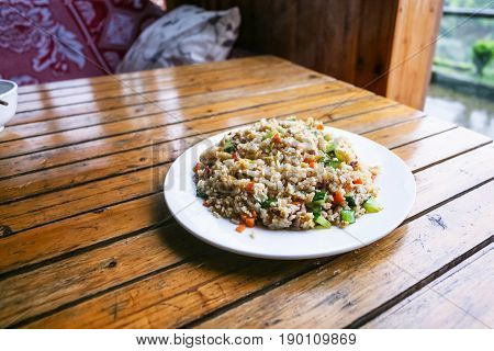 Portion Of Fried Rice With Vegetables