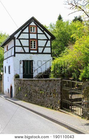 Half-timbered house in Kronenburg. Eifel Germany. June 2013.