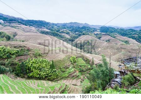 View Of Terraced Fields And Houses Of Tiantouzhai