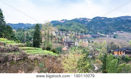 View Of Tiantouzhai Village In Terraced Fields