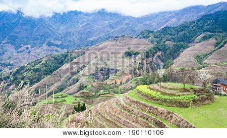 View Of Terraced Fields In Dazhai Country