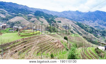 View Of Rice Terraced Hills In Dazhai Country