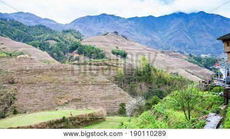 Hills Near Dazhai Village In Country