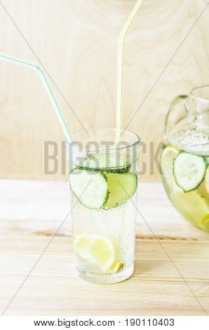 Sassy diet water. Detox drink. Fresh cold water with lemon and cucumber.