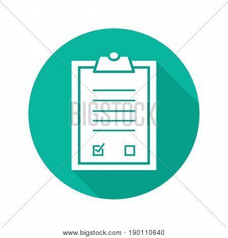 Clipboard checklist flat design long shadow icon. Medical clip board. Vector silhouette symbol
