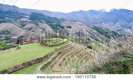 View Of Terraced Fields And Tiantouzhai Village