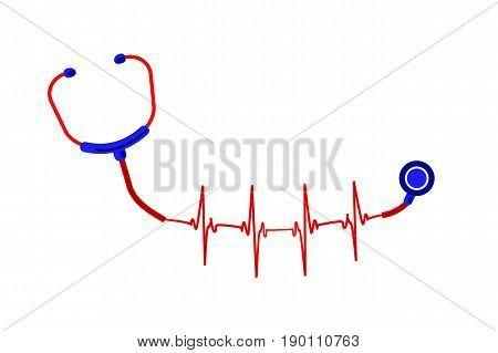ECG phonendoscope illustration of stethoscope who gradually becomes a electrocardiogram