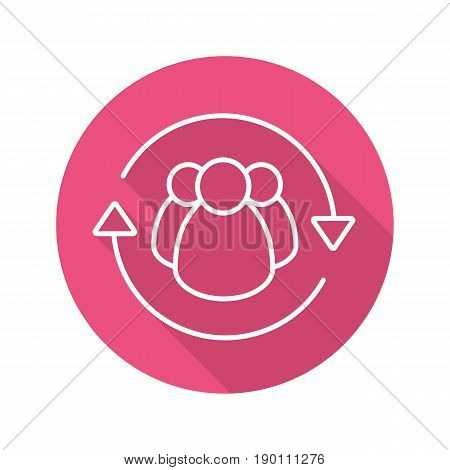 Team management flat linear long shadow icon. Staff turnover. Vector line symbol