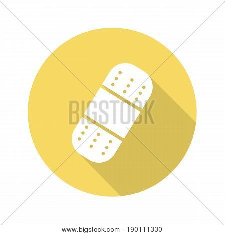 Plaster flat design long shadow icon. Adhesive band aid. Vector silhouette symbol