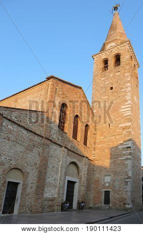 Bell Tower Of The Ancient Basilica Of St. Euphemia In The Town O
