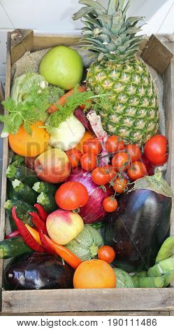 Boxes Of Fresh Vegetables And Fruits On Sale At Market