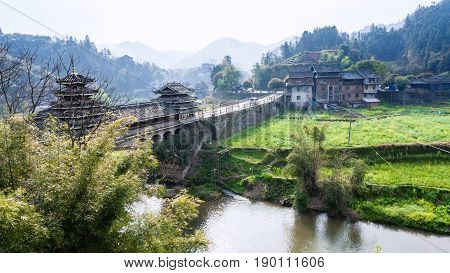 Dong People Bridge And Gardens In Chengyang