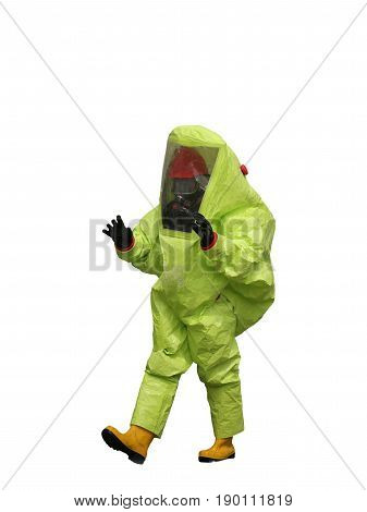 Man With A Yellow Protective Suit On White Background