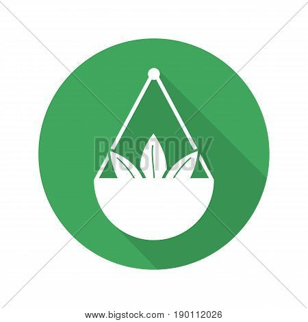Apothecary herbs in scalepan. Flat design long shadow icon. Loose tea leaves. Vector silhouette symbol