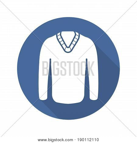 Sweater flat design long shadow icon. Winter pullover. Vector silhouette symbol
