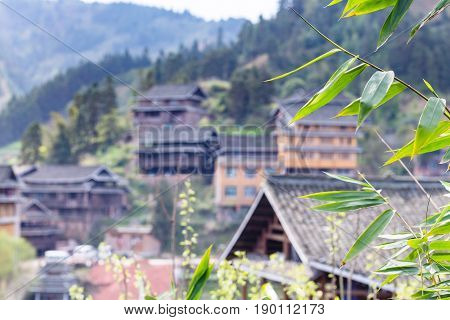 Green Leaves And And Unfocused Houses In Chengyang