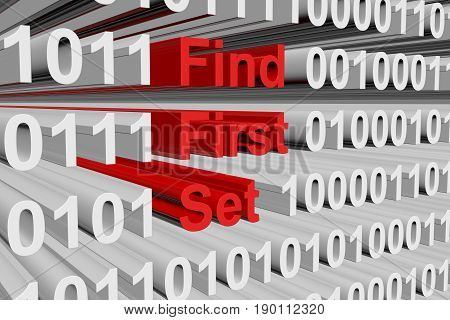 Find first set in the form of binary code, 3D illustration