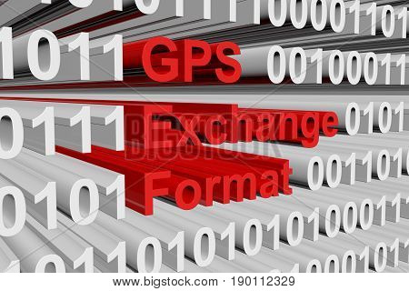 GPS Exchange Format as a binary code 3D illustration