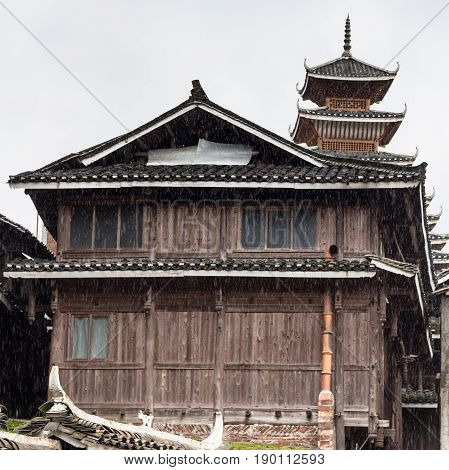 Wooden House And Tower In Chengyang Village