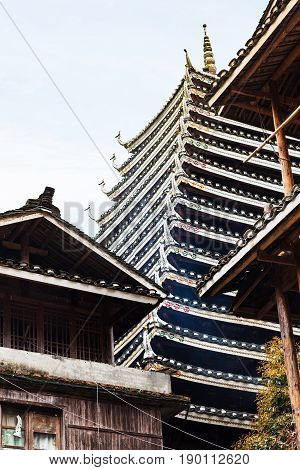 Wooden House And Pagoda In Chengyang Village
