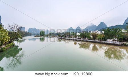 Waterfront Of Yulong River In Yangshuo County