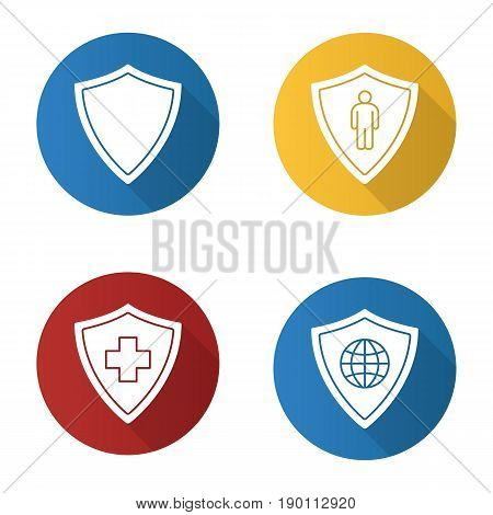 Protection shields flat design long shadow icons set. Medical insurance, bodyguard, network security. Vector silhouette illustration