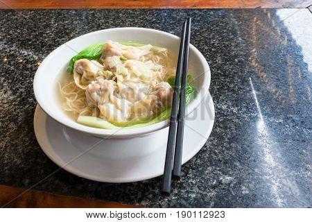 Dim Sum With Noodle Soup With Chopsticks