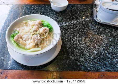 Dim Sum With Noodle Soup In Bowl