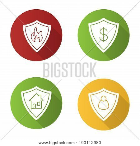 Protection shields flat design long shadow icons set. Bank account, real estate, personal security. Flammable sign. Vector silhouette illustration