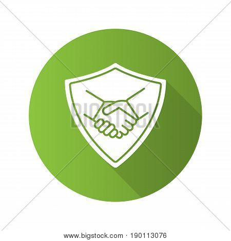 Safe bargain flat design long shadow icon. Protection shield with handshake. Vector silhouette symbol