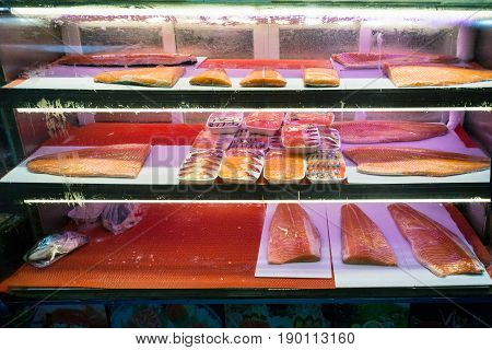 Smoked Salmon Fillet In Fish Market In Guangzhou
