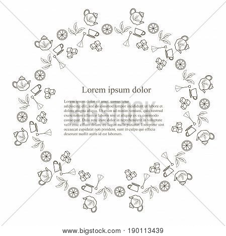 Round typography banner tenmplate for tea, Lorem ipsum, line design stock vector illustration. Monochrome icons tea pot, tea bag, sugar cube, tea leafs on white background