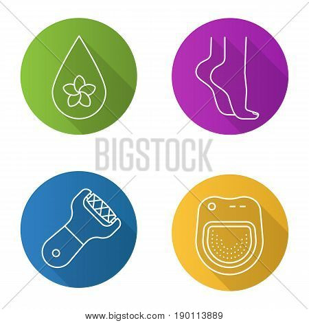 Spa salon flat linear long shadow icons set. Aromatherapy oil drop, woman's feet, spa salon bath, foot file. Vector line illustration
