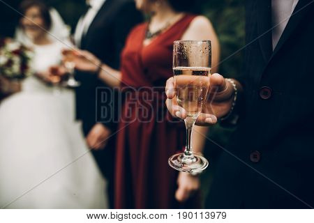 Champagne Glasses At Wedding Reception , Bride And Groom Toasting. Gorgeous Wedding Couple Newlyweds