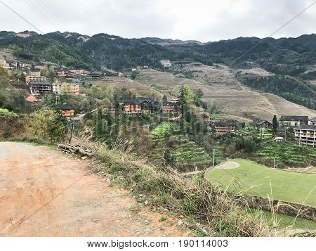 Road On Terraced Hills In Dazhai Village